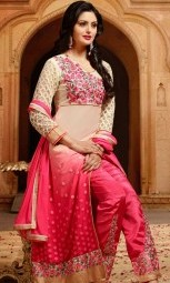 pink off white salwar suits party wear