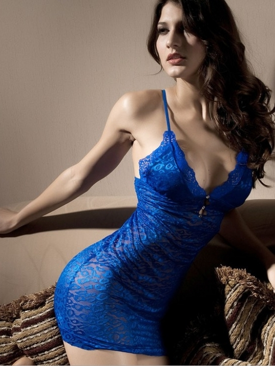sexy deep blue lingerie dress